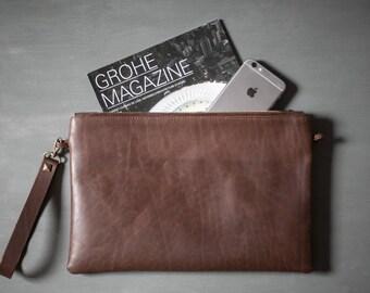 Brown vintage leather clutch, zipper clutch bag, iPad mini case