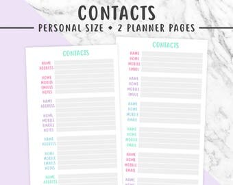 PERSONAL CONTACTS Printable | Pastel, Contact Information, Phone Numbers, Personal Information, Filofax, Kikki K
