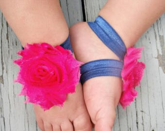 Barefoot Baby Sandals, Hot Pink and Navy Barefoot Baby Sandals, Newborn Barefoot Sandals, Flower Sandals, Toddler Sandals Baby Shower Gift