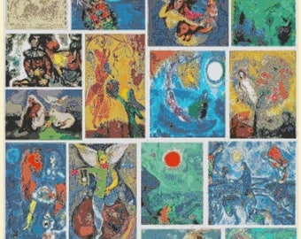 ON SALE Marc Chagall artwork collection  - 331 x 441 stitches - Cross Stitch Pattern Pdf - INSTANT Download - B1240