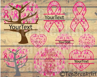 Breast Cancer Monogram Cutting Files Digital ClipArt Files For Personal Commercial Use Instant Download heat transfer decal iron on (054C)