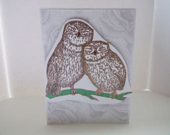 LOVE BIRDS Winter Owl 'I Love You' Card//Greeting Card//Just Because//Valentine's Day//Anniversary//Owls//Birds//Nature//Stationary