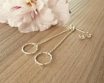 Sterling Silver Ring Earrings,  Dangle Silver Earrings, Gold Ring Earrings, Long Earrings, 925 silver jewelry