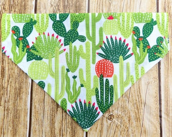 Cactus Dog Bandana. Succulent dog bandana. Desert dog bandana. Modern dog bandana. Trendy dog bandana. Slip on Over Collar bandana. Fall pet
