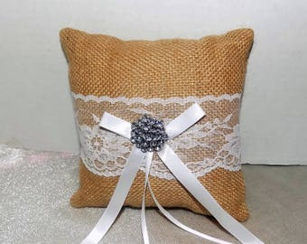Ring Bearer's Pillow, Wedding Ring Pillow, Burlap Pillow, Wedding, Ring Pillow, Wedding Decor, Wedding Car Pillow