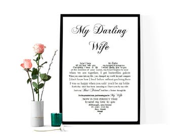 Personalised Wife Gift, print your own Anniversary Gift for her, Personalized Gift for Wife, Wife Birthday Gift, Personalised Poem for Wife