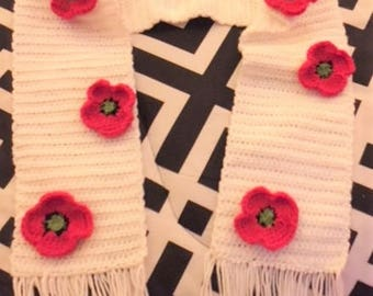 Red Remembrance Poppy Crochet Scarf - Made to Order