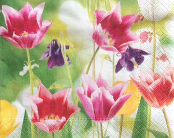 Set of 2 pcs 3-ply ''Tulips'' paper napkins for Decoupage or collectibles 33x33cm, Decopatch napkins, Tovaglioli, Servietten, Mixed media