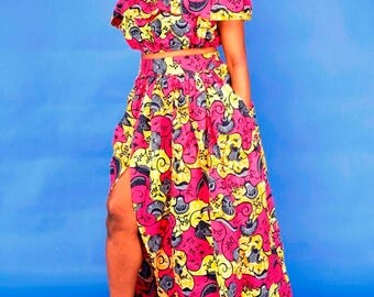 Adriana African  Maxi Skirt Set
