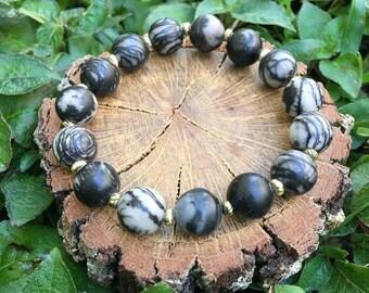 Dorothy Bracelet- Map Jasper(10mm) - Boho Beaded Bracelet - Gemstone Bracelet - Oliver Grey Jewelry - Stacking Bracelet - Gemstone Jewelry