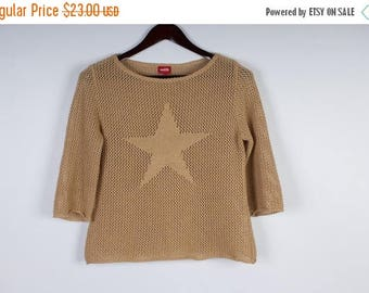 ON SALE Beige Knit Sweater Womens Summer Sweater Knitted with Big Star Sweater Romantic Top 3/4 Sleeves Size Medium