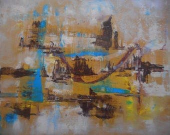 "Original Abstract Oil Painting by Nalan Laluk: ""City of Monuments"""