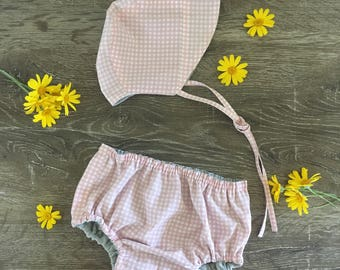Vintage style reversible sun bonnet and bloomer set - PINK GINGHAM / GREY