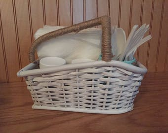 Beach napkin holder, utensil holder, table organizer