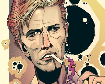 David Bowie Illustrated Portrait Print