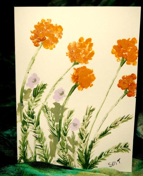 Original Hand Painted Blank Note Card, Acrylic Painting, YARROW-LIKE, Folk Art Keepsake Signed Artwork by Stacey Torres