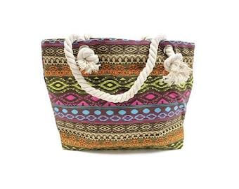 Classic bag, rope handle, Balinese, blue, pink, yellow, shopping bag, beach bag
