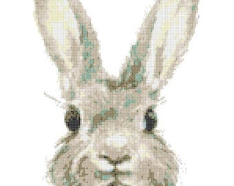 """watercolor rabbit counted Cross Stitch Pattern chart pdf format embroidery - 10.64"""" x 13.29""""  - L1483"""