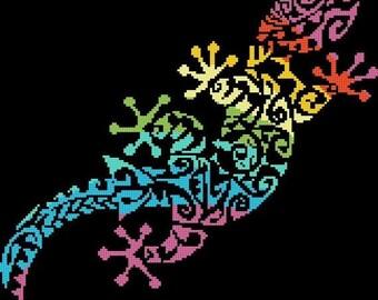 """gecko lizard - counted cross Stitch pattern chart pdf format needlepoint, nedlepoint - 11.57"""" x 11.36""""  - L1437"""
