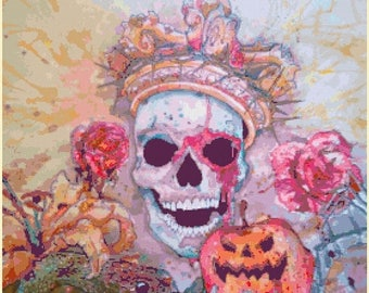 "king sugar skull Counted Cross Stitch sugar skull Pattern pdf file ristipisto kuvio needlepoint korss - 19.71"" x 23.86"" - L1364"