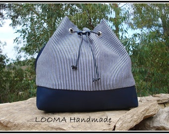 LARGE BUCKET BAG Handbag blue and blue and white striped canvas with leather look shoulder bag blue leatherette