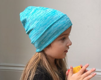 Turquoise blue Slouchy Beanie / baby beanie hat / kids jersey knit hat / toddler beanie / kids beanie / hipster baby