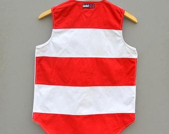 Vintage White Tommy Hilfiger Shirt White Red Striped Button Up Sleeveless Shirt Top Blouse Bohemian Hippie Shirt Womens Bodice Medium Size