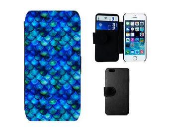 Wallet flip case Samsung Galaxy S8 Plus, S7 S6 Edge, S5 S4 Mini Note 5, iPhone 8 7 6S 6 Plus SE 5S 5C 4S X, Mermaid gifts flip cover. F331