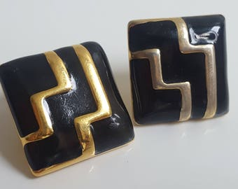 Monet Geometric Stud Earrings | Zig Zag | Gold Plated | Black | Black and Gold | Art Deco | Square