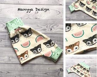 Baby Pants - Organic Baby Harems - Organic Baby Clothes - Cat Baby Pants - Cat Baby Clothes - Baby Shower Gift - Baby Boy Pants