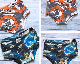 Toddler Boy Underwear - Galaxy Toddler Underwear - Robot Toddler Underwear - Space Ship Underwear - Boy Underwear - Toddler Clothes