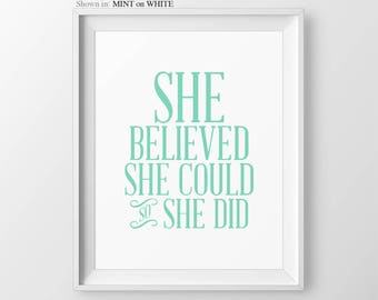She Believed She Could So She Did Girls Nursery Decor Inspirational Nursery Print Nursery Wall Art Nursery Quote Inspirational Print