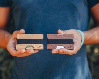 Cartera tarjetero minimalista en madera, Wood Wallet