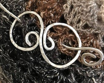 Aluminum shawl pin/Scarf pin/Rustic jewelry/hammered wire pin