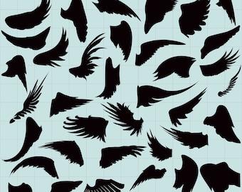 Angel Wings Clipart, Angel Wings SVG, Angel Silhouettes Clipart, Wings Silhouettes, Angel Black Silhouette, SVG File, png jpg svg