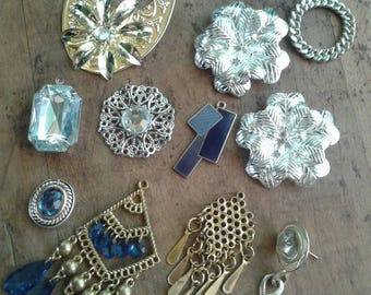 Blue & Metal Mixed Destash Junk Jewelry Craft Lot Mixed Jewelry Pieces