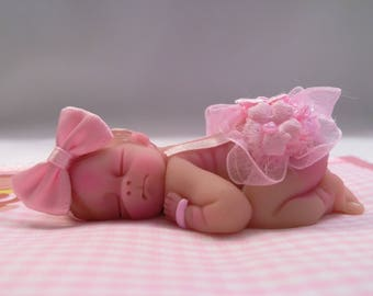 "Polymer Clay Babies ""It's a Girl"" Newborn, SIZE 2.5"" Gift, Keepsake, Collectible, Cake Topper, Home Shelf Display Decor"