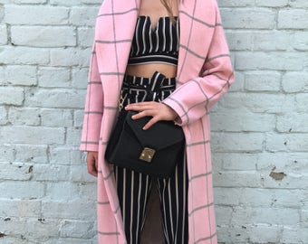Robe coat/ Pastel pink wool coat/ Soft woman wrap coat/ Plaid coat/ Spring 2017/ Wool blend belted wrap coat/Midi coat/ Shawl collar coat/