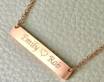 Name Bar Necklace, Name Necklace, Personalized Necklace, Rose Gold Necklace, Bridesmaid Gift, Initial Bar Necklace, Bar Necklace