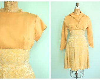 Vintage 1960's Gold Brocade Party Dress | Size Small