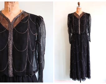 Vintage 1970's Deco Inspired Black and Silver Beaded Gown | Size Medium