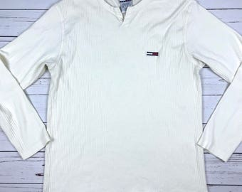 VTG 90s Tommy Hilfiger Tommy Jeans White Long Sleeve Shirt Size: XL