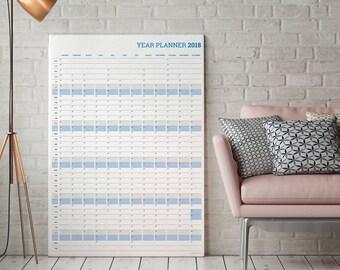 Year Planner 2018 Portrait Wall Planner / Agenda Calendar in PDF format KP-W3