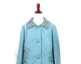 1970's Embroidered Blazer Vintage Hand Tailored Blazer Retro Floral Embroidered Blazer Pale Blue Blazer 1970's Custom Made Blazer Jacket