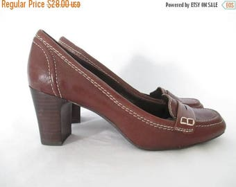 90's Chunky Heeled Loafers Brown Leather Loafers Vintage High Heeled Loafers Bandolino Leather Shoes