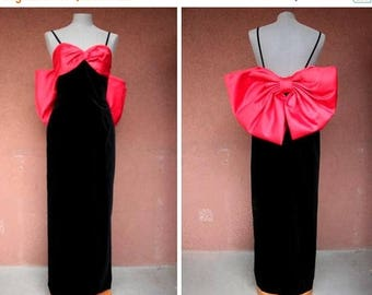 Summer Sale 1980's Evening Over the Top Bow Dress