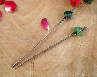 Copper hair stick set Copper wire hair pin Wire wrapped hair stick Agate and metal hair stick Copper wire hair accessories Metal hair fork