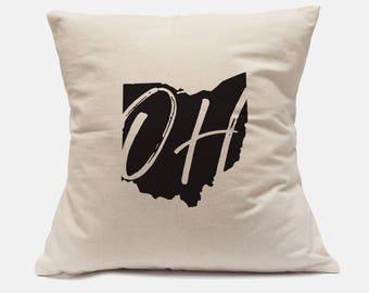 """100% Cotton Canvas Pillow Cover """"Ohio State"""" Pillow Ohio Pillow Ohio State Pillow Ohio State Decor Ohio Decor Ohio Throw Pillow"""