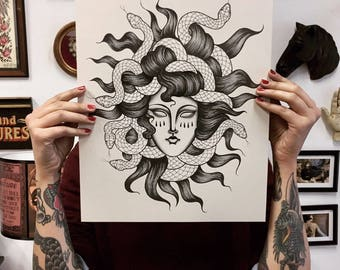 medusa print, giclèè print, a3 print, mythology print, greek mythology, tattoo print, tattoo flash, traditional tattoo