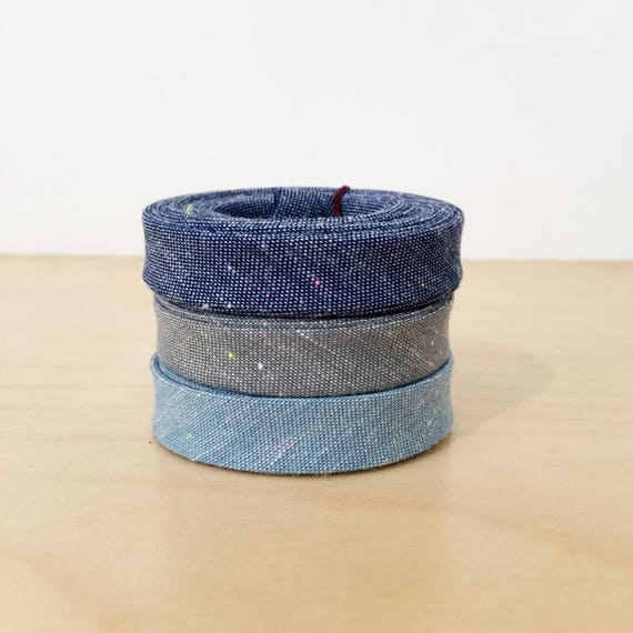 "Bias Tape 1-yard Sampler Pack 1/2"" double-fold cotton binding- 3 different Neon Neppy Chambray fabrics"